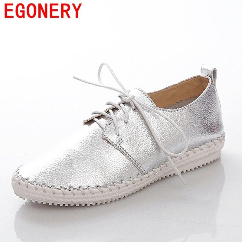 EGONERY zapatos  Zapatos de oficina de Cuero genuino blanco de plata con cordone