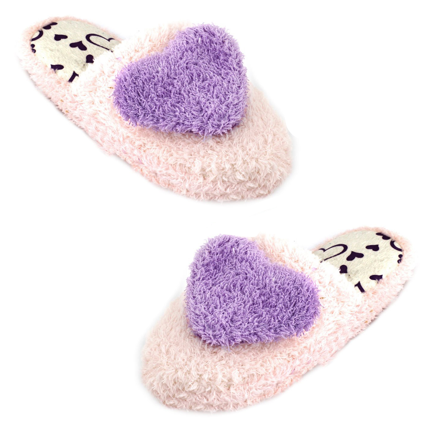 VSEN Hot Ladies Sweet Warm Light Pink Purple Plush Warm Warming Home Slippers Winter Cute Heart Patterns Slippers Women 6.5