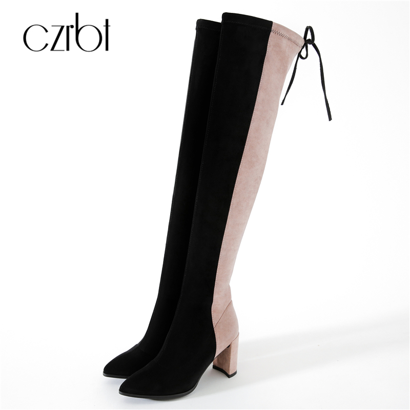 CZRBT Autumn Winter Women Boots Classic Elastic Band Over the Knee Boots Thin Square Heel Boots Mixed Colors Pointed Toe Boots the explosion of the classic all match solid colored body hip high elastic denim pants feet female winter bag mail