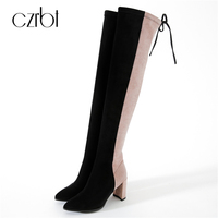 CZRBT Autumn Winter Women Boots Classic Elastic Band Over The Knee Boots Thin Square Heel Boots
