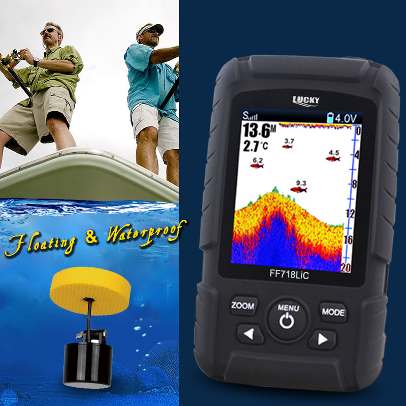 Lucky FF718LiC Waterproof Fish Finder Monitor 2-in-1 Wireless Sonar Wired Transducer 328ft 100m depth Fishfinder