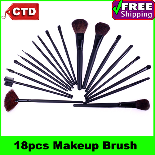 18 PCS Makeup Brush Set + Black Pouch Bag