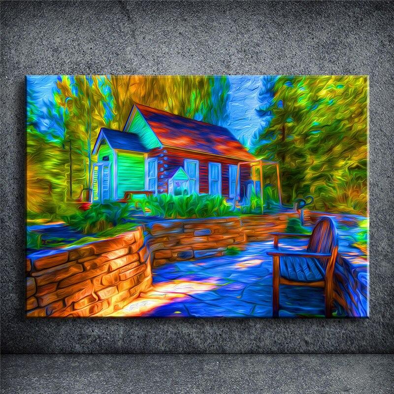 Lgemlde Dorf Kunst Pic Dekoration Moderne Leinwand Farbe Gedruckt Wohnzimmer Ungerahmt JHBQ222China