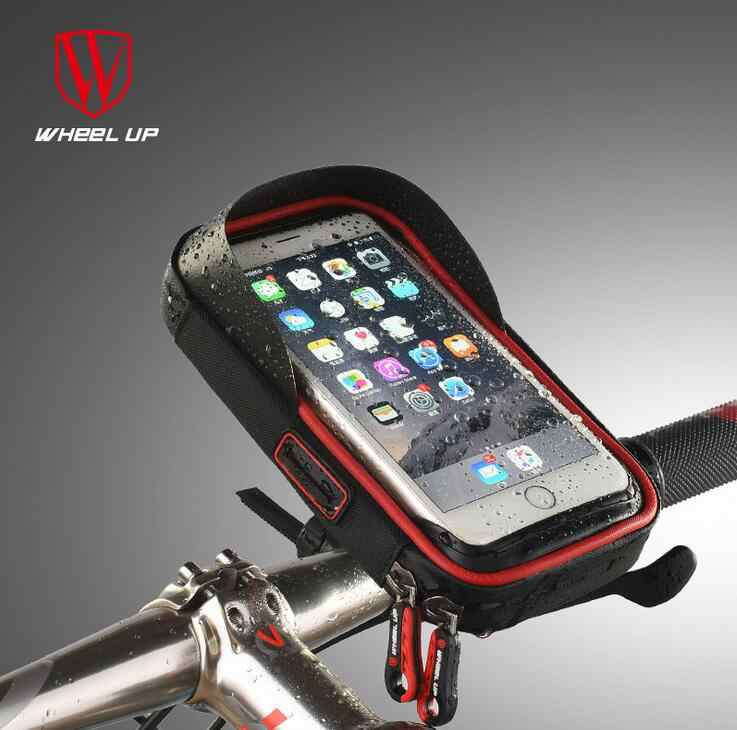 02e10cd5bca WHEEL UP 6.0 Inch Waterproof Touch Screen Bicycle Mobile Stand Bag Front Handlebar  Bag For Cell