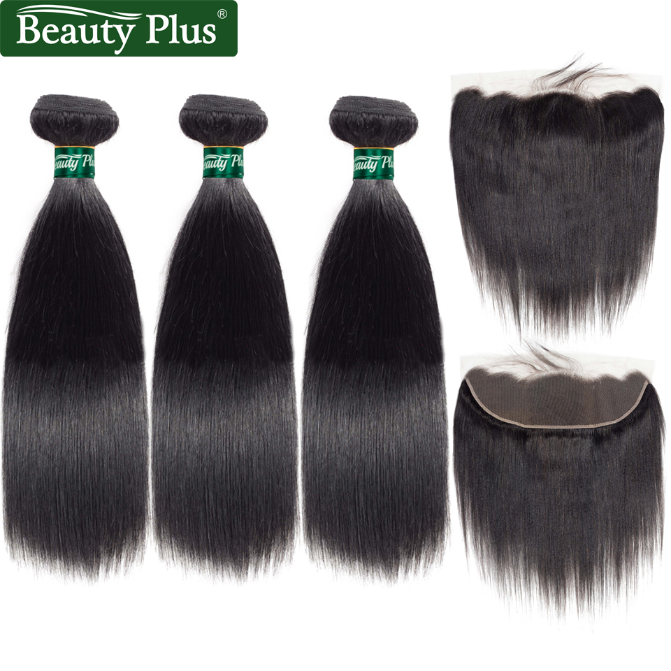 Peruvian Hair Bundles with Closure 3 Bundle Black Human Hair Straight Beauty Plus Pre Pl ...
