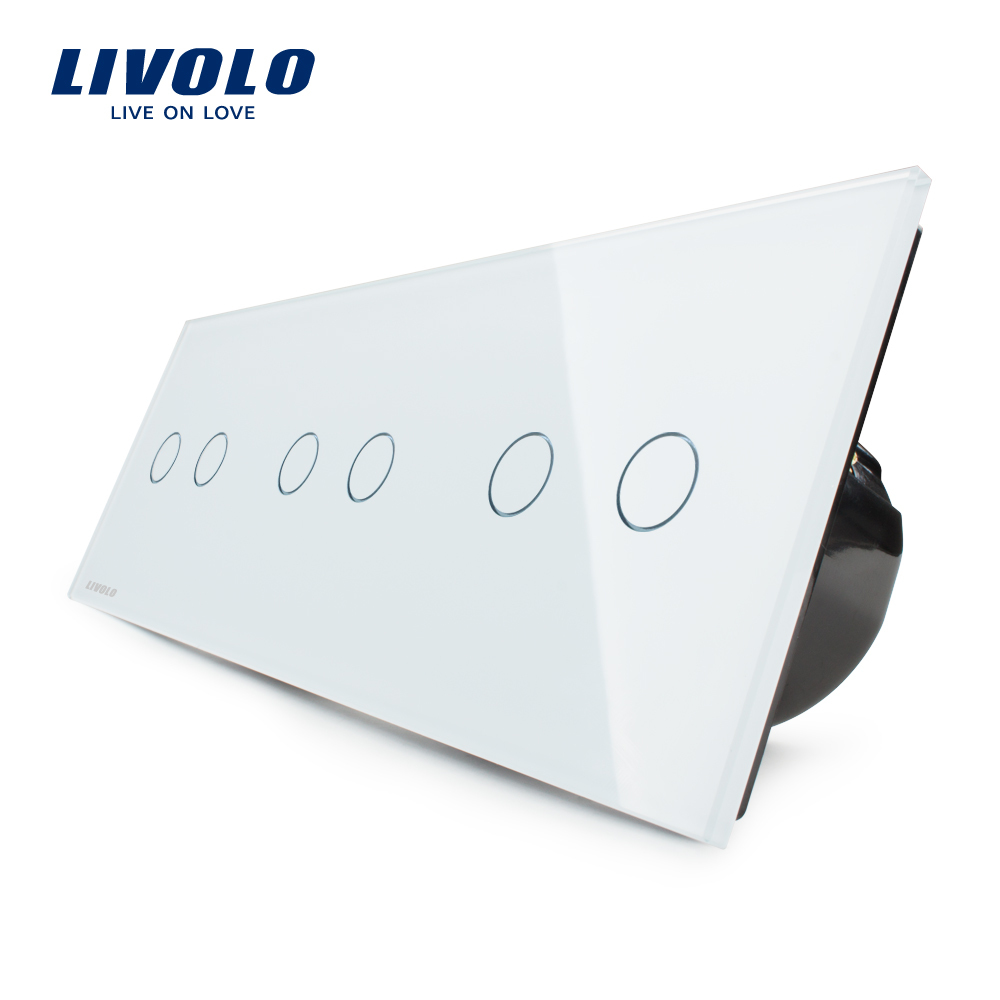 Livolo EU Standard, Touch Switch, Free Combination Luxury Wall Triple Touch Switch, VL-C706-11,With White Crystal Glass Panel eu us smart home remote touch switch 1 gang 1 way itead sonoff crystal glass panel touch switch touch switch wifi led backlight