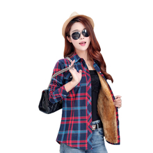 Velvet Thick Warm Women's Plaid Shirt Female Long Sleeve Tops M-XXL Size Winter Check Blouse Blusas Femininas Chemise Autumn