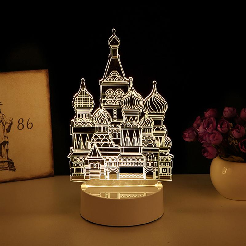 Castle 3D Visualization Nightlight Optical Illusion LED Desk Lamp Acrylic Creative Design Night Light (US Plug)