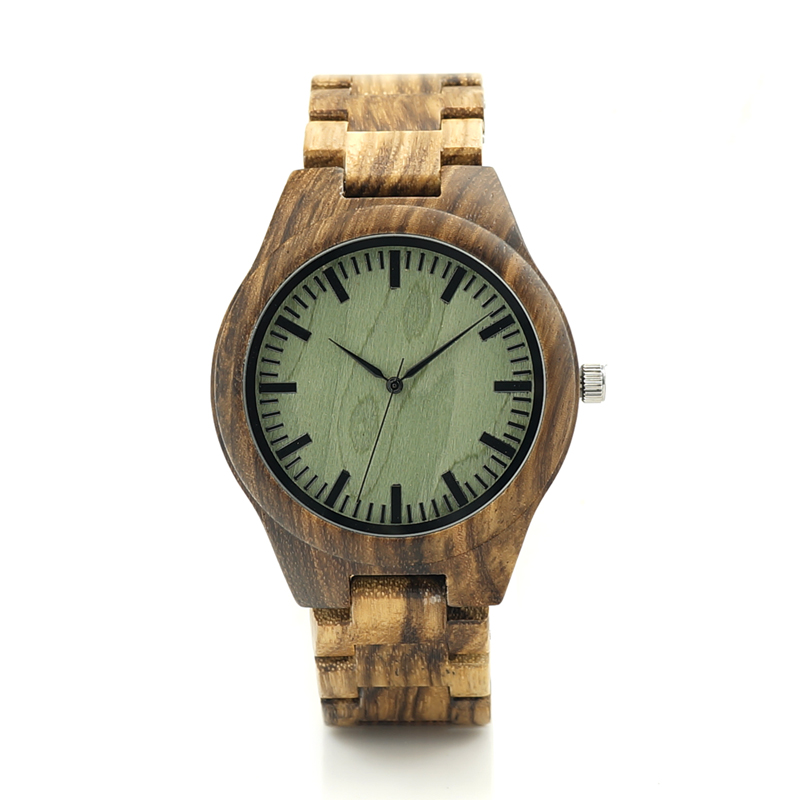 лучшая цена BOBO BIRD Zebra Series Wood Watches Simple Wooden Dial Quartz Wristwatch for Gift