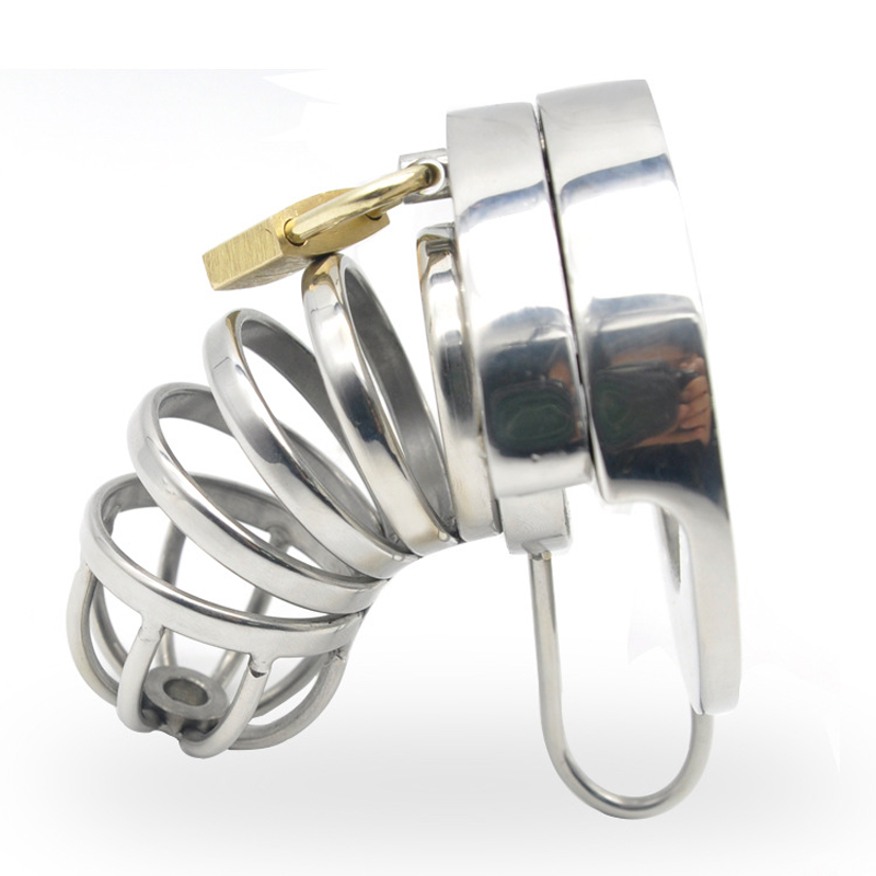 men 39 s sex toys cbt cock cage metal cockring stainless steel male chastity device lock bondage penis ring cages sextoys for men in Penis Rings from Beauty amp Health