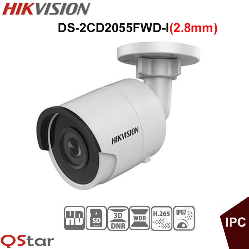 Hikvision H.265 5MP IP security Camera DS-2CD2055FWD-I(2.8mm) 5MP Bullet outdoor IP Camera H.265 IP67 Support on-board storage hikvision original english h 265 5mp ip camera security outdoor camera ds 2cd2055fwd i 5mp bullet cctv ip camera h 265 ip67 poe