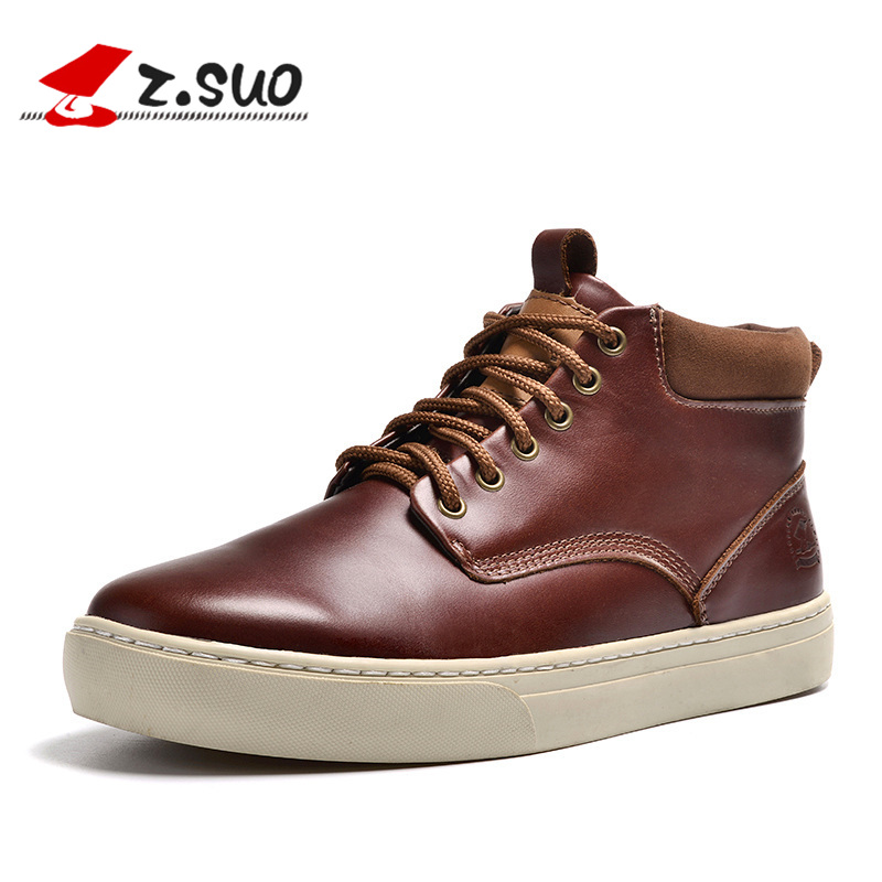 Z. Suo men boots. The first layer of cowhide fashion boots man, pure color with men's casual shoes, Zapatos de cuero zs9705 worship the elder brother of the men and women athletic shoes head layer cowhide beef tendon counters authentic 6