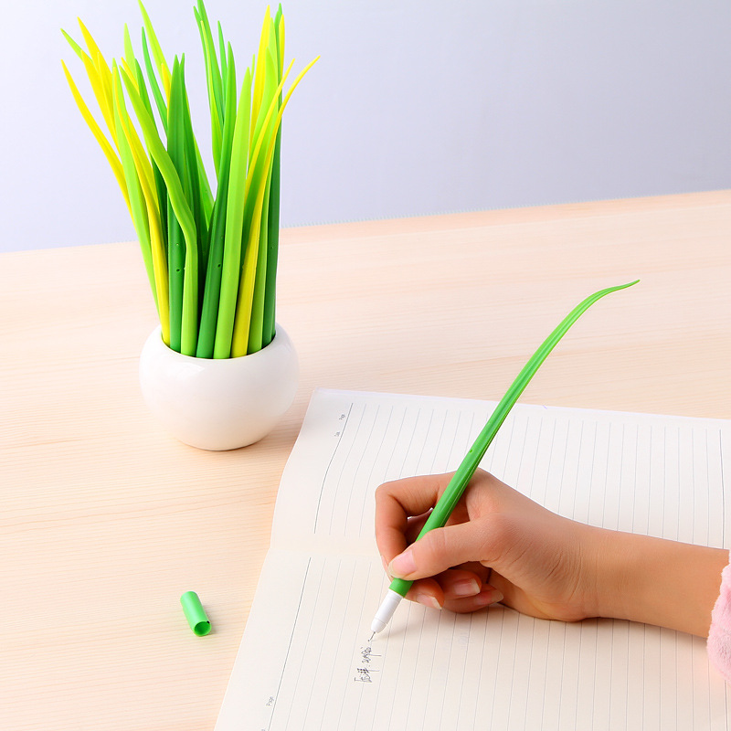 3 Pcs/lot Tiny Green Grass Gel Pen Blade Grass Potting Decoration Zakka Stationery Caneta Office Supplies Material School fish tank decoration grass hillside green