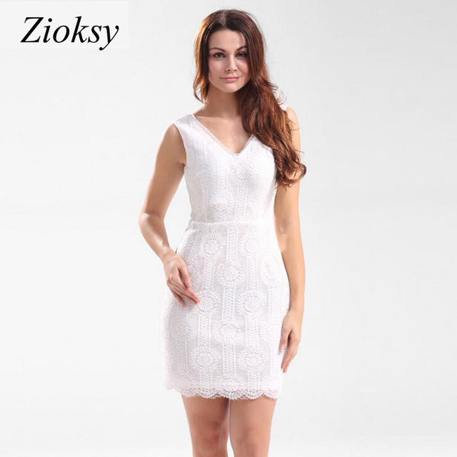 d2184c6ab31 Zioksy 2017 Summer Dress Women Sexy Night Club Halter V-Neck Sleeveless  White Slim Plus Size Casual White Lace Mini Dress