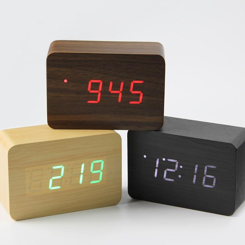 2019 Liten söt LED-trä digital klocka Despertador Sound Control USB - Heminredning