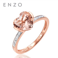 ENZO Classic Natural Gemstone Heart Shape 1.49 Ct Morganite With 0.007 Ct Real Diamond Ring Gift For Women Fine Jewelry