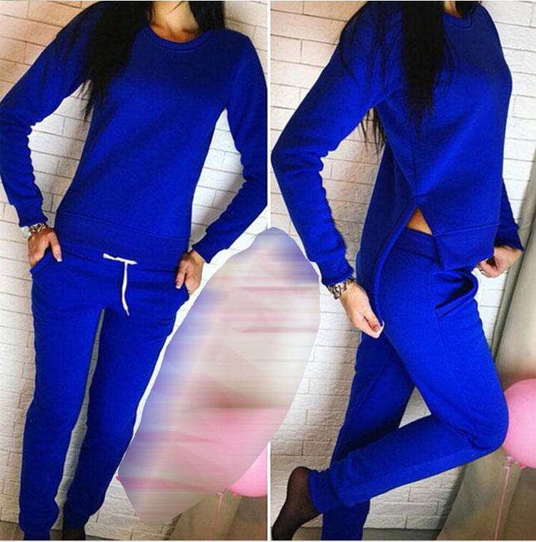 Women Tracksuit Long Sleeve Slit Solid Sweatshirts Casual Suit Women Clothing 2 Piece Set Tops Pants Sporting Suit Female 10