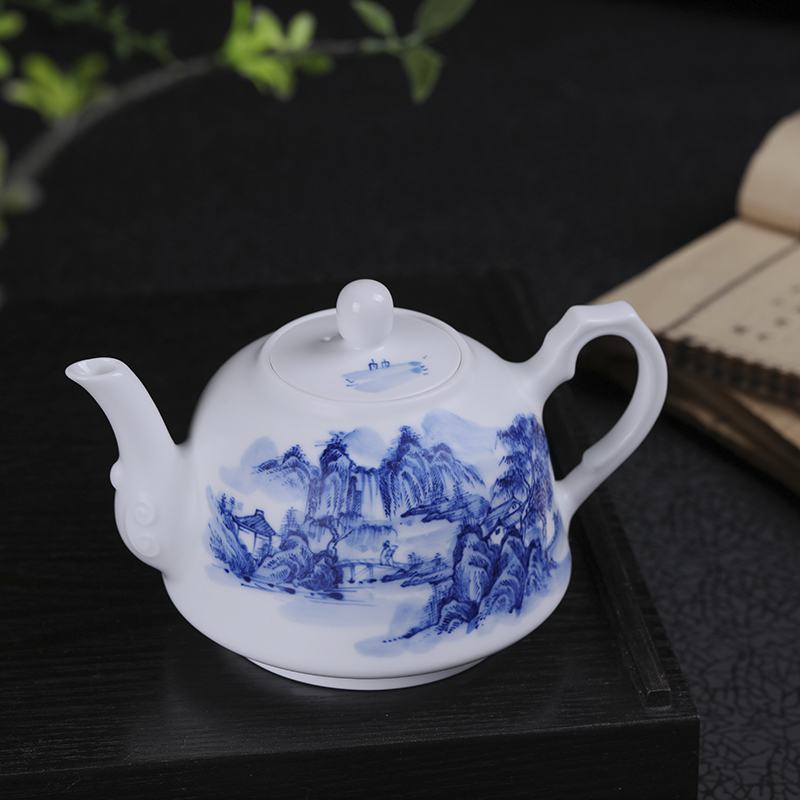 400ml Jingdezhen Large Capacity Ceramic Teapot Handmade Blue and White Porcelain Tea Pot Kung Fu Tea Set Puer Teaware Kettle - 3