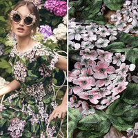 DG stereo applique gauze water soluble lace fabric embroidery cloth wedding dress handmade Hydrangea