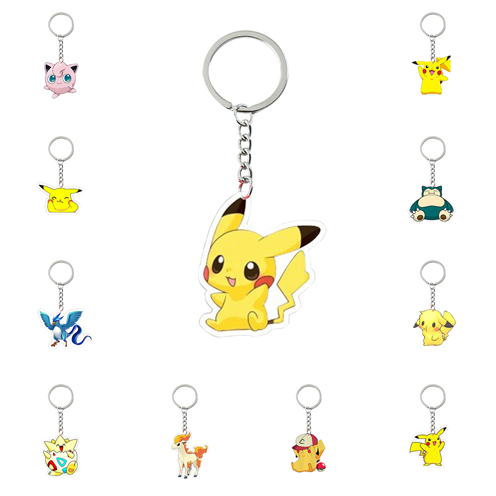 New Pop Fashion Toys Acrylic Keychain Pikachu Snorlax Key Ring Kids Wonder Women KeyChain Bag Pendant Jewelry