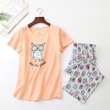 새로운 2019 여름 여성 잠옷 면화 귀여운 인쇄 올빼미 잠옷 세트 탑 + 카프리 탄성 허리 플러스 크기 3XL 라운지 pijamas S92904