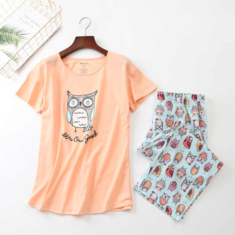 Nuevo 2019 Pijamas De Las Mujeres De Verano De Algodon Lindo Buho Conjunto De Pijama De Top Capri Cintura Elastica De Talla Grande 3xl Salon Pijamas S92904 Sets De Pijamas Aliexpress