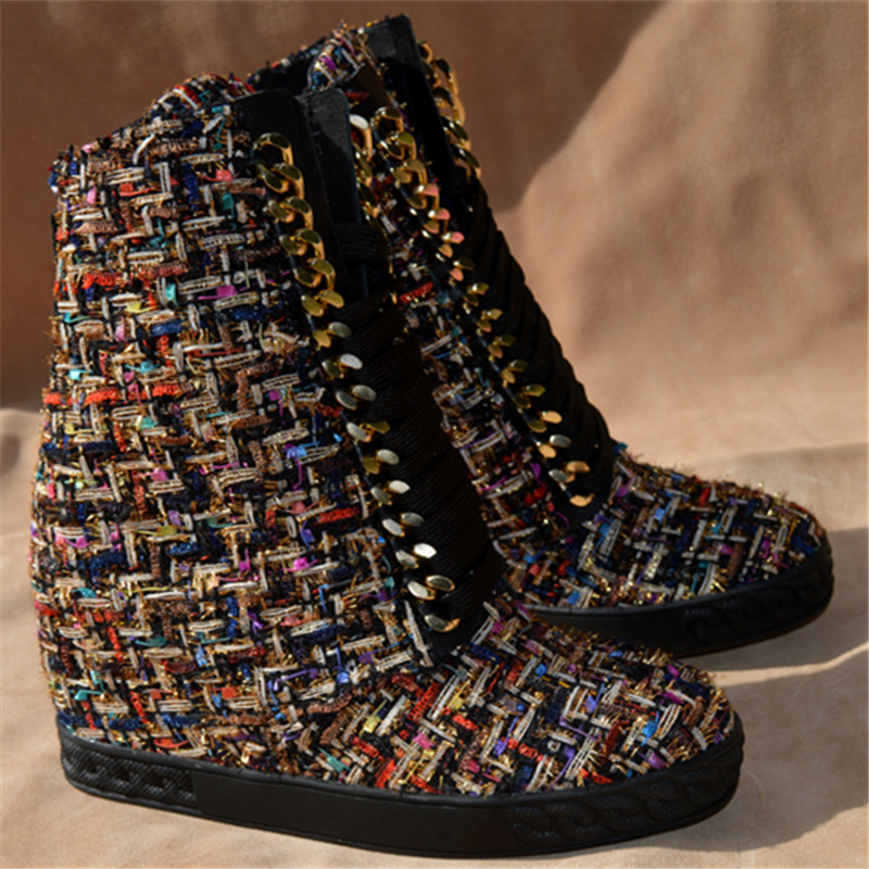 Black White Winter Ankle High Height Increasing Snow Boots Casual Shoes Cross-tied Warm Chain Metal Decoration Botas Femeninas ankle black solid cross tied winter martain boots zipper design suede british style botas femeninas walkway casual shoes women