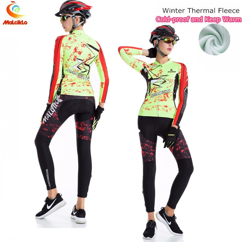 Malciklo Cycling Jersey 2017 Pro Team Ropa Ciclismo Mujer/Winter Fleece Mountan Bike Wear Clothing Woman Maillot Cycling Sets