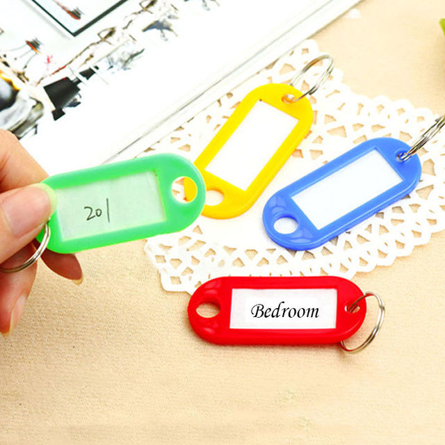 10 PCS Plastic Custom Split Ring ID Key Tags Labels Key Chains Key Rings Numbered Name Baggage Luggage Tags 3