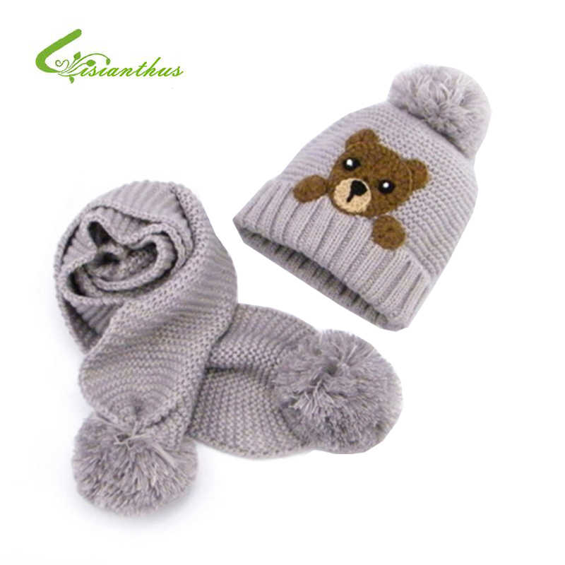 8734b3ad34b Winter Baby Hat And Scarf Crochet Handmade Knitted Caps for Infant Boys  Girls Cartoon Bear Caps