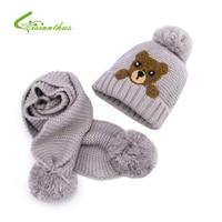 Chapéu E Lenço Do inverno Do Bebê Crochet Handmade Malha Caps para o Infante Tampas Das Crianças Das Crianças Das Meninas dos meninos Dos Desenhos Animados Urso Neck Warmer 2 pcs