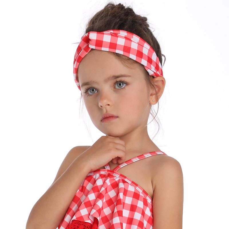 Summer Family Matching Swimwear Mother Daughter Plaid Bikini Bathing Suit Swimwear Family Matching Outfits Kids Mom Swimsuit (2)