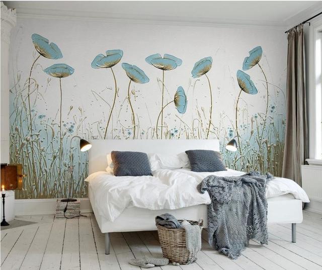 US $15.6 49% OFF Benutzerdefinierte 3D Wallpaper Fotodruck kurze grüne  blume Tapete Für wohnzimmer Schlafzimmer mode vlies 3D Wallpaper Wände in  ...