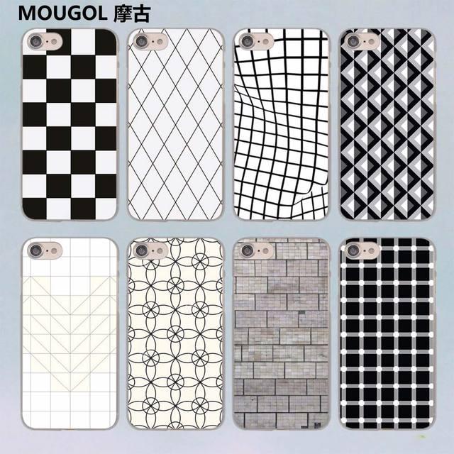 Mougol Black And White Lattice Design Transparent Clear Hard Case