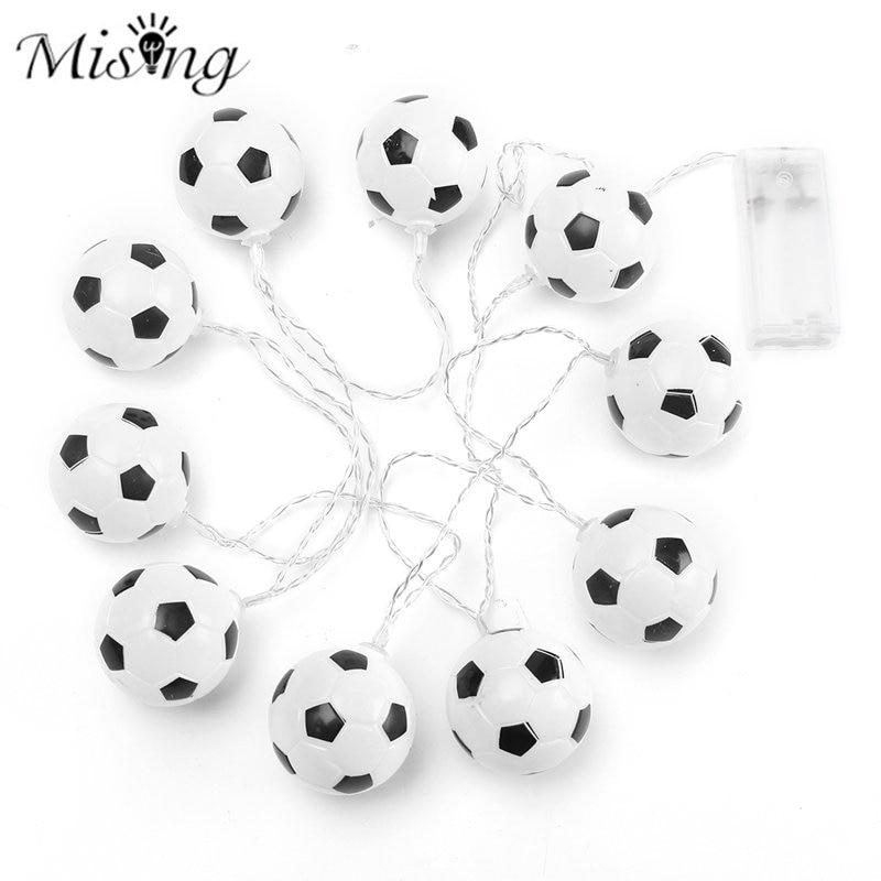 Mising LED Football Lighting String 10 White Ball Bulbs Boys Bedroom Battery Operated Fairy String Lights Wall Lamp