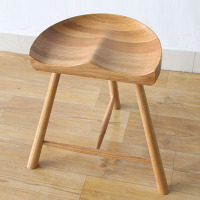 White Oak Wood Saddle Stool