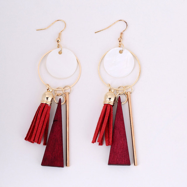 1 Pair Ethnic Women Bohemia Shell Tassel Earrings Long Pendant Drop Earrings Jew
