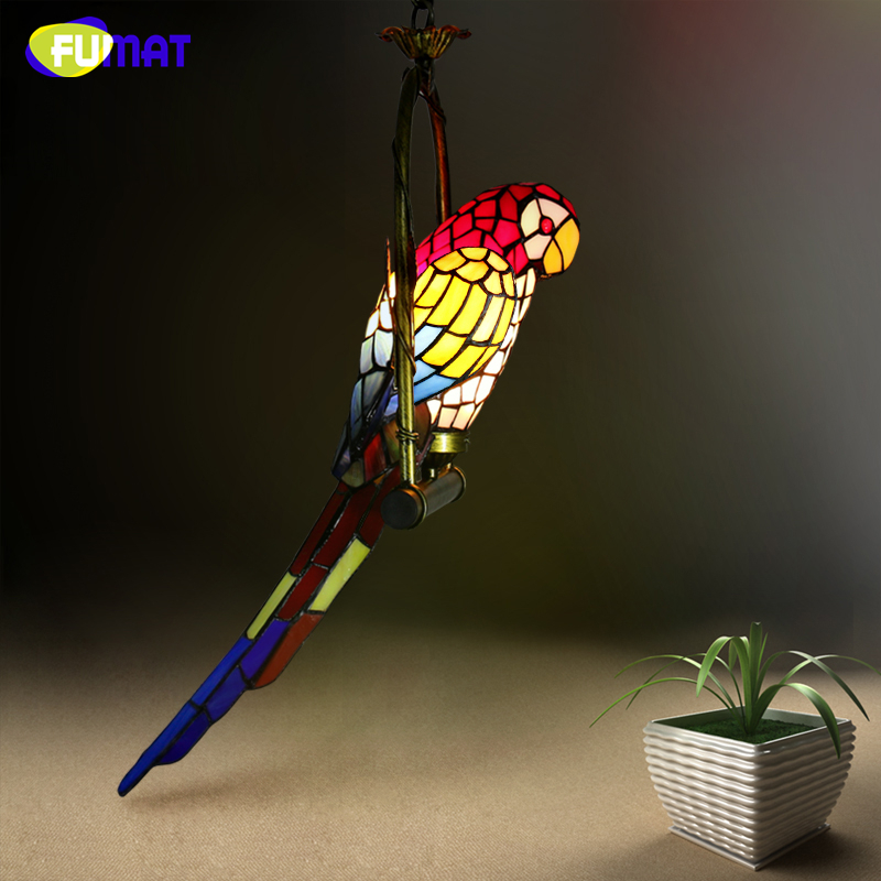 FUMAT Stained Glass Parrot Light Antique Art Glass Bird Pendant Lamp Living Room Glass Shade Light Fixture LED Pendant Lights fumat stained glass pendant lamps european style glass lamp for living room dining room baroque glass art pendant lights led