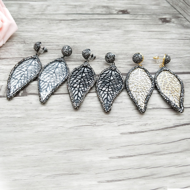 5 Pairs Fashion leaf shape earrings pave Black rhinestone dangle for women charm handmade Jewelry Earrings