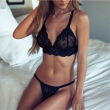 Floral Wireless Bra Lace Lightly Lined Triangle Bra Set Underwear Women Lingerie Deep Plunge V Neck(China)