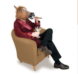 New Horse Head Mask Creepy Halloween Mask horse mask horse head Costume Fur Mane Latex Realistic cosplay party supplies