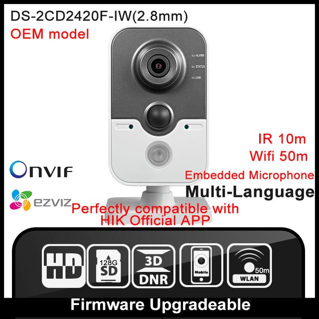 Oem ds-2cd2420f-iw (2.8mm) hikvision original inglés versión cámara onvif poe cámara de red wifi de seguridad ip cámara de 2mp p2p hik