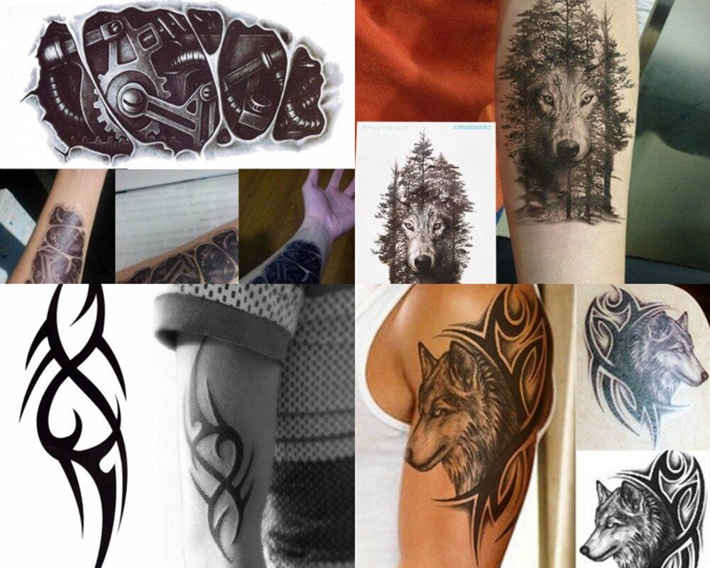1PCS Wolf Forest Death Skull Fastening Nut 3D Waterproof Temporary Tattoos Sticker Art Men Arm Leg Fake Tatoo Paper