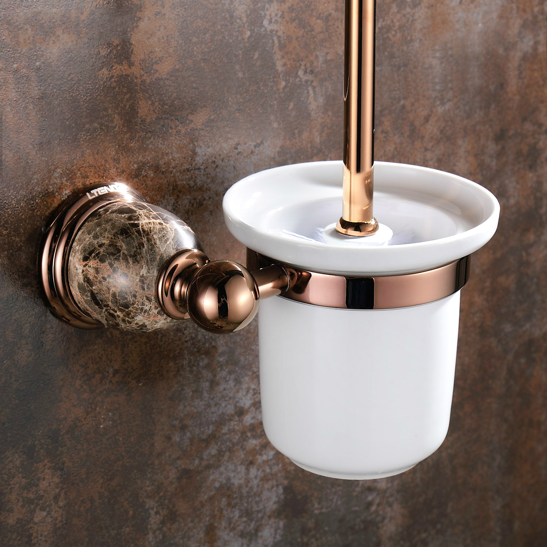 Vintage Marble Base Rose Gold Polished Toilet Brush Rack European Solid Brass Toilet Cleaning Brush Holder Bathroom Hardware aw5 antique brass artistic bathroom toilet brush holder