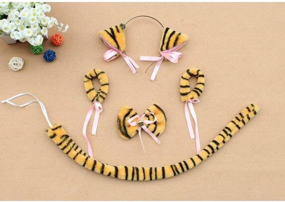 Косплей-Одежда плюшевая черный neko уши ободок с ушками галстук-бабочка браслет с хвостом животного декор для Хэллоуина, вечеринки предметы для вечеринки - Цвет: tiger