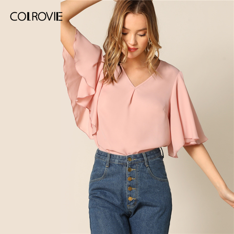 COLROVIE Pink V Neck Pleated Front Flutter Half Sleeve Elegant   Blouse     Shirt   Women   Shirts   2019 Summer Korean Office Ladies Tops