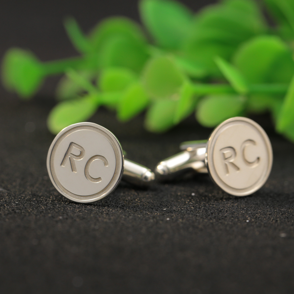 Solid Silver Personalized Men Cufflinks Birthday Gift Customized 2 Initials Name Day