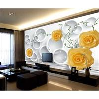 Mould Proof Non woven 3D Wallpaper Bedroom Living Room TV Sofa Backdrop Wall paper Yellow Rose Photo Wallpaper Home Decor #30
