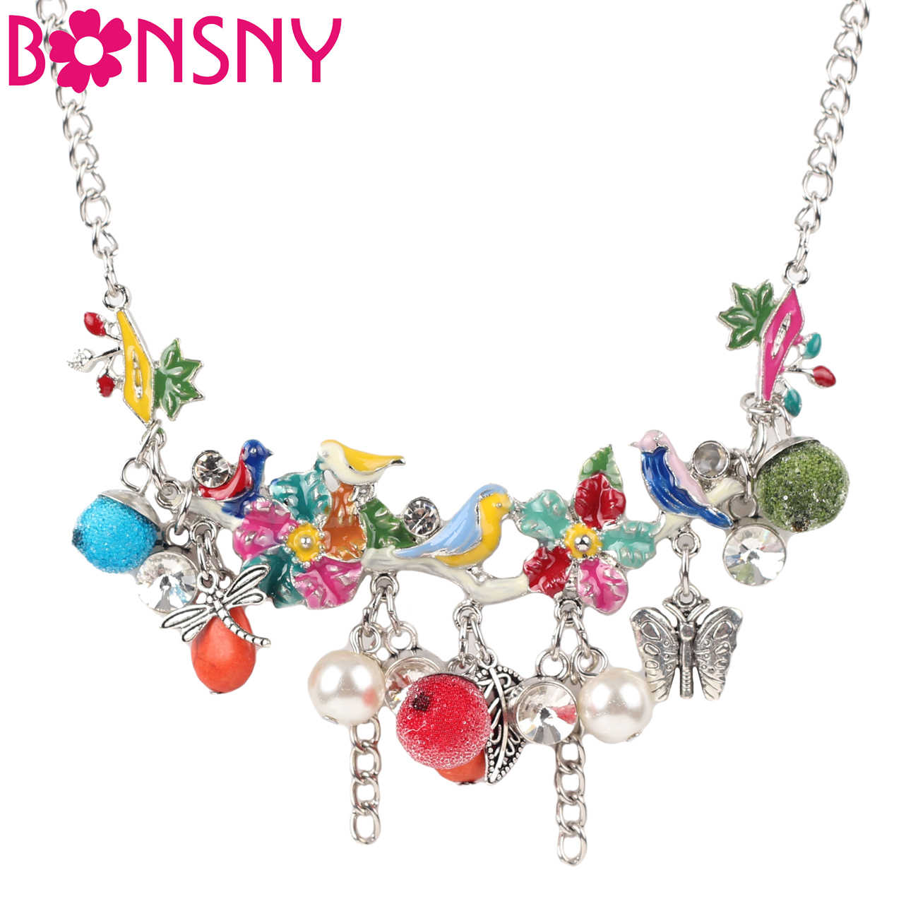 Bonsny Statement Enamel Flower Bird Fruit Tree Choker Necklace Bead Tassel Pendants Chain Collar Fashion Jewelry For Women