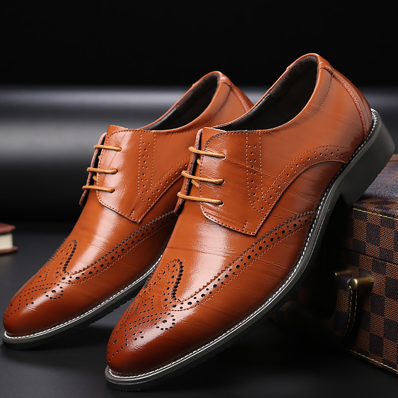 Plus size 38-48 brogue shoes men shoes wear-resistant breathable mens shoes made of genuine leather dress shoes skp151custom made goodyear 100% genuine leather handmade brogue shoes men s handcraft dress formal shoes large plus size